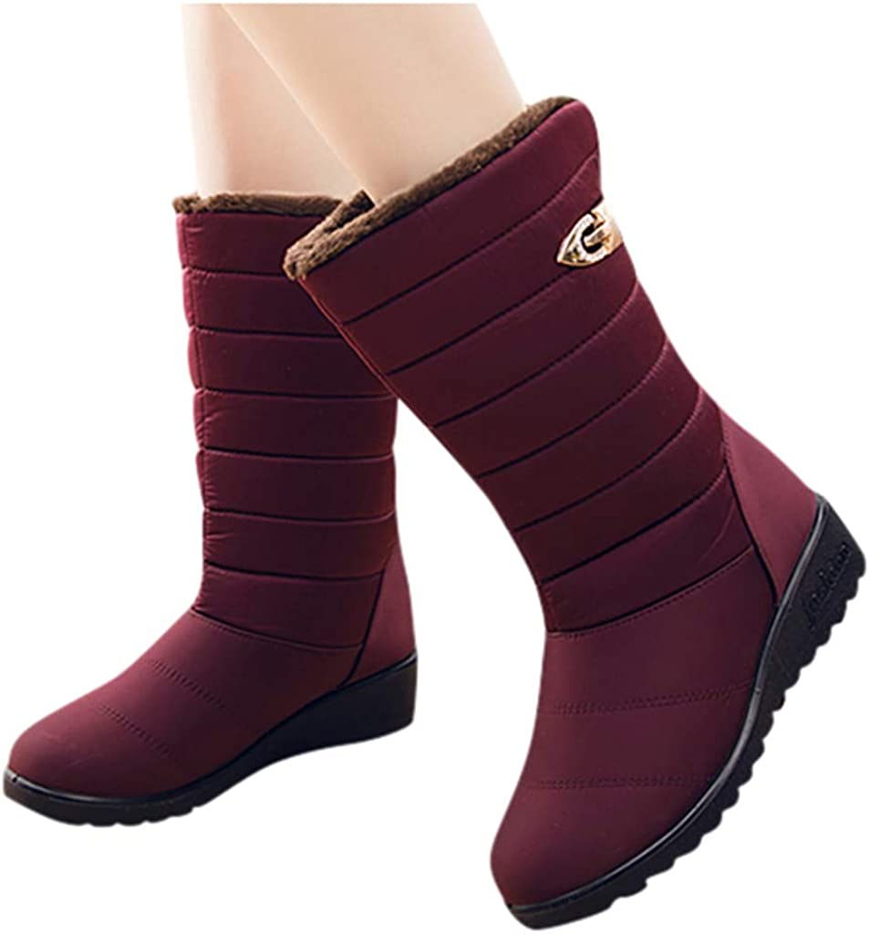 Hbeylia Winter Snow Boots For Women Thermal Waterproof Platform Wedge Mid Calf Boots With Fleece Lining Anti Slip Chunky High Heels Ankle Booties For Girls Camping
