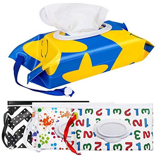 N-brand Paquete de 4 toallitas, portátil, bolsa de toallitas de viaje, reutilizable, dispensador de toallitas de viaje, dispensador de toallitas para bebé, bolsa de transporte