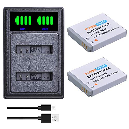 PowerTrust 2Pcs NB-6L NB-6LH Battery + NB 6L Battery Charger with type-C port for Canon PowerShot SX170 IS, SX240 HS, SX260 HS, SX270 HS, SX280 HS, IXUS 310 SX240 SX275 SX280 SX510 SX500 HS 95