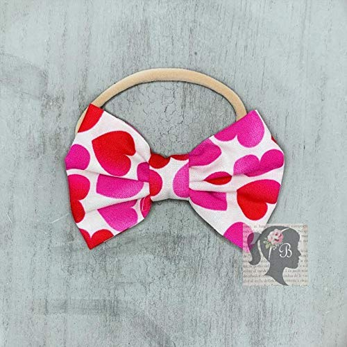 Valentines Day Pink With Red Hearts Scrunchie Handmade 100/% cotton