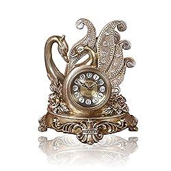 CLOCKZHJI Retro Mantel/Mantle Rhythm Quartz Clock Living Room swan Desk Shelf Clocks Decoration (Color : Bronze)