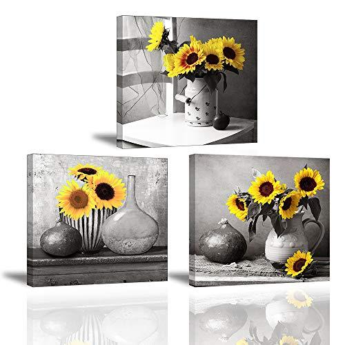 3x Cuadro Sobre Lienzo Imagen Impresión en Lienzo El girasol es una Flor que anhela el Sol Pinturas Murales Decor Dibujo con Marco para Sala de Estar Regalo de Navidad Cumpleaños 30x30cm PIY Painting