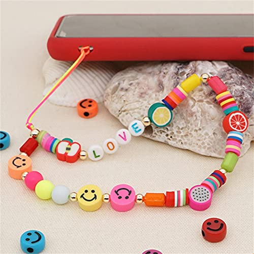 HEHUO Smiley Face Beaded Phone Charm Strap, Fruit Smile Rainbow Color Phone Lanyard Wrist Strap, Cute Fashion Phone Chain Charm Accessories For Women Girls 6pcs