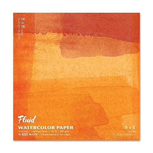 Fluid Watercolor Paper 880088 140LB Cold Press 8 x 8 Block, 15 Sheets