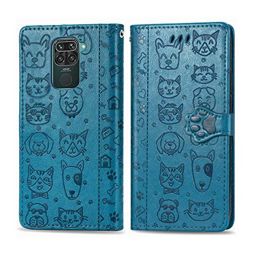 Funda para Xiaomi Redmi Note 9, Redmi 10X 4G Carcasa Libro con Tapa Flip Case Antigolpes Cartera Polipiel Cuero Suave Guay Cubierta Color Azul
