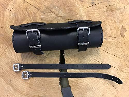 Lenkerrolle schwarz HD Harley Davidson Echtleder Lederrolle Rolle Werkzeugrolle Bugrolle Leder Chopper verstärkt Motorradtasche Motorrad Tasche