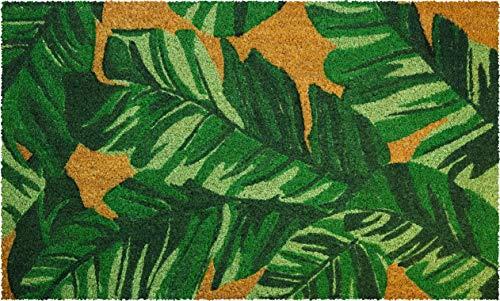 ID MAT - Zerbino in Fibra di Cocco Naturale, Motivo: Foglie, 45 x 75 x 1,5 cm, Colore: Verde