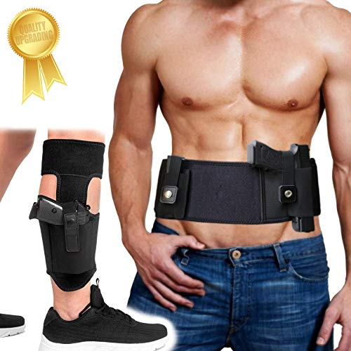 Belly Band Holster+Ankle Holster, Universal Holsters Combo for Concealed Carry, Tactical Gun Holster for Men and Women-Fits Glock 17 19 26 42 43, Ruger LCP, M&P Shield, Sig Sauer, Ruger, Kahr, Beretta