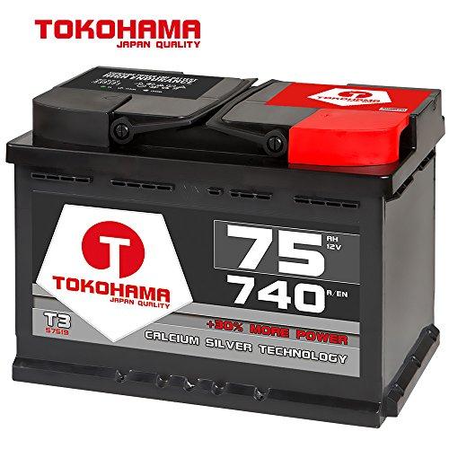 Tokohama Autobatterie 12V 75AH Starterbatterie ersetzt 66Ah 70Ah 72Ah 74Ah 77Ah