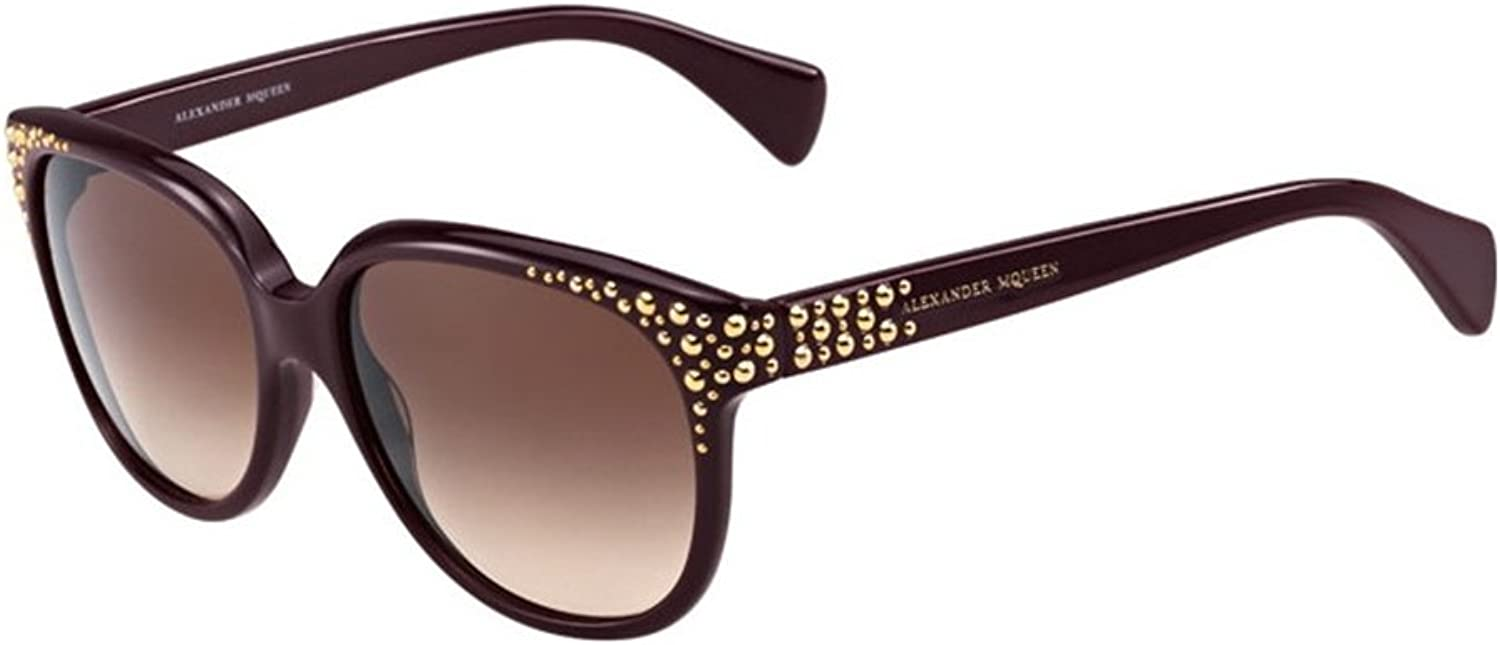 Alexander McQueen Studded Cateye Sunglasses in Plum AMQ 4212S RYY 58 58 Brown Gradient