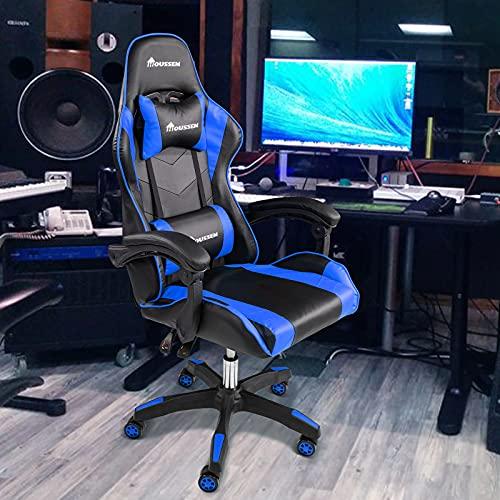Gaming Stuhl Ergonomisch PC Computer Bürostuhl - Liegender Racing Stuhl mit hoher Rückenlehne Verstellbarer, drehbarer Videospiel Stuhl mit Kopfstütze und Lendenwirbelstütze für Erwachsene Männer