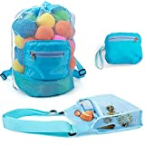 MOMOK 2 Pack Kids Mesh Beach Toy Bag Seashell Bags Shell Toys Collecting Totes Drawstring Storage Bags Backpack Beach Essentials for Vacation,Toys Not Include
