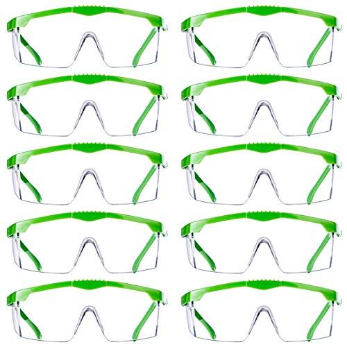 Foxom veiligheidsbril, 10 stuks pak van heldere veiligheidsbril beschermende bril veiligheidsbril voor oogbescherming met heldere plastic lenzen voor volwassenen kinderen