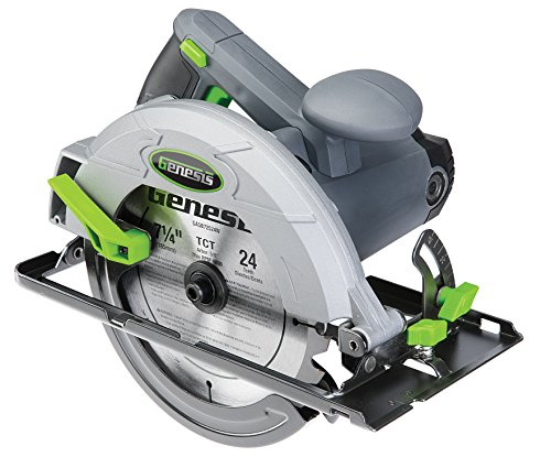 Genesis GCS130 13 Amp 7 1/4' Circular Saw with Metal Lower Guard, Spindle Lock, 24T Carbide Tipped Blade, Rip Guide, and Blade Wrench