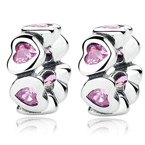 FeatherWish - Ciondoloa forma di cuore con zirconi rosa, distanziatore, in argento Sterling 925, per braccialetti Pandora e Argento, colore: Argento,