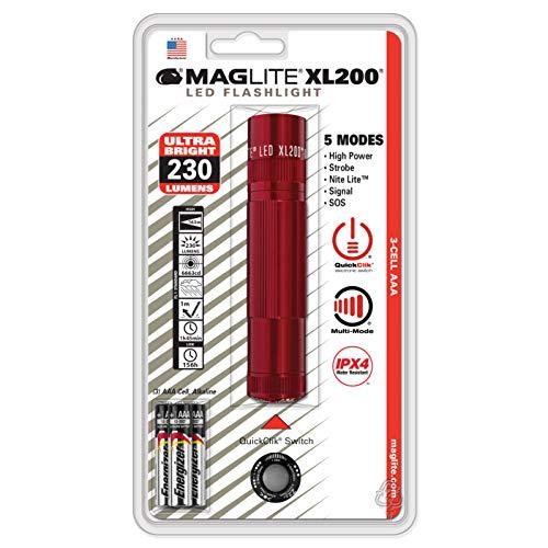 Maglite XL200 en blister plus Piles LR03-AAA Rouge 12.2 cm