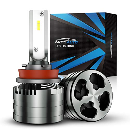 Marsauto H11/H9/H8 LED Bulbs,16000LM Brightness 6000K Xenon White, Aluminum Alloy M2 Series Light Bulb Conversion Kit with 12000RPM Turbo Fan