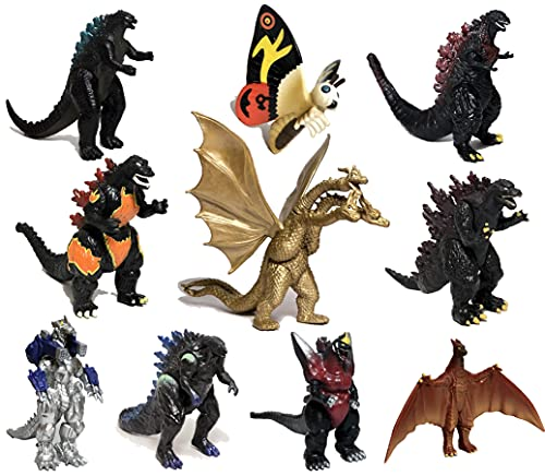 EZFun Set of 10 Godzilla Toys with Carry Bag, Movable Joint Action Figures 2019, King of the Monsters Mini Dinosaur Mothra Imago Burning Heisei Mecha Ghidorah Playsets Kids Birthday Cake Toppers Pack
