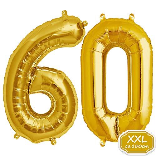 FUNXGO XXL Folienballon Zahl [ca.100cm], Geeignet für Geburtstage Überraschungsparties Hochzeiten Jubiläen Einweihungen Einstände Abschlüsse und Feste (Gold[60])