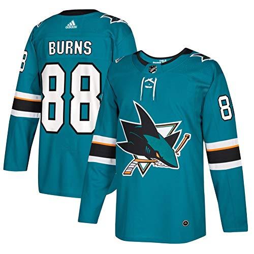Herren T-Shirt Eishockey Jersey NHL San Jose Sharks Burns #88 Home Hockey Trikot Youth Training Trikot Hockey Uniform Leichtathletik Shirts Gr. XL, blau