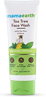 Mamaearth Tea Tree Natural Face Wash for Acne & Pimples Wash 100 ml - For Normal & Dry Skin - SLS & Paraben Free