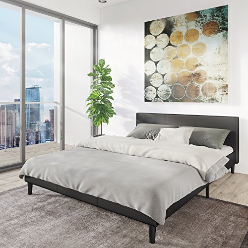 Manhattan Queen Bed Frame | Modern Style Low Profile Headboard + Platform Bedframe | Upholstered Bedroom Mattress Furniture + Soft Wood Footboards, Wooden Slats, Box, and Size Support Legs Included