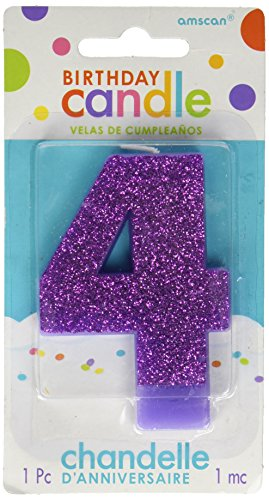 #4 Glitter Birthday Candle   Purple   Party Supply