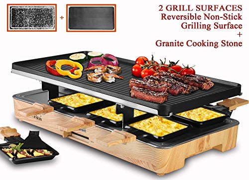 Artestia Electric Raclette Grill with Two Full Size Top Plates...