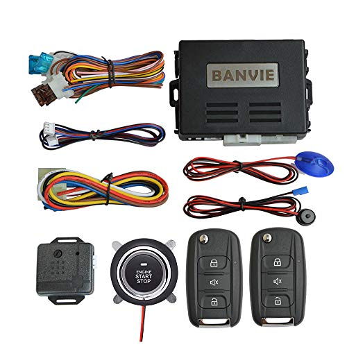BANVIE Car Alarm System with Remote Start & Push to Start Ignition Kit Engine Button