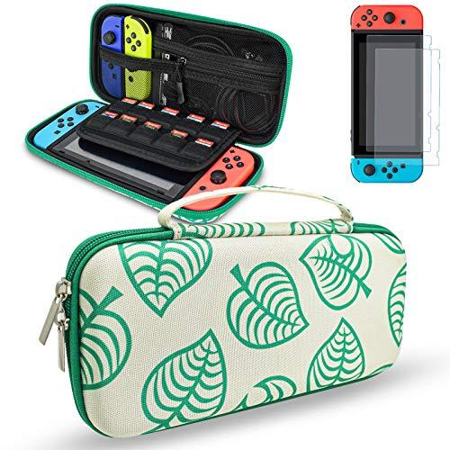DLseego - Funda Compatible con Nintendo Switch, funda de transporte para viaje, kit de accesorios de almacenamiento para Switch con 2 protectores de pantalla con capacidad 10 ranuras tarjetas de juego