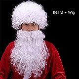 Perruque Et Barbe Père Noël Ensemble Super Deluxe Santa Claus Perruques Courtes Cheveux Bouclés Longue Barbe Perruque Halloween Taille 4 pour Déguisement Blanc,G