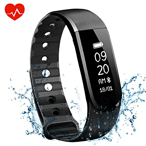 OMorc Fitness Tracker Cardio Braccialetto Sport Bluetooth 4.0 Impermeabile IPx7 Unisex Activity Tracker, Orologio Fitness, Funziona Cardiofrequenzimetro, Pedometro, Musica Controllo, Camera Controllo, Allarme, Calorie Counter, Sleep Tracker, per iPhone Tablet Android Smartphone, Nero