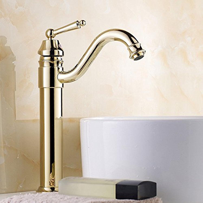 AQMMi Waschtischmischer Mischbatterie Für Badarmatur Gold Messing Antik Retro Warmes Und Kaltes Wasser 1 Bohrung Armatur Badarmatur Mischbatterie Waschbeckenarmatur