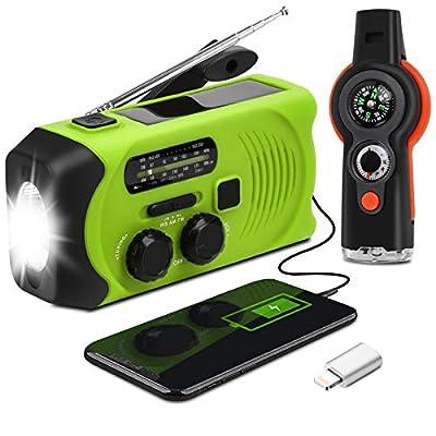 Emergency Weather Radio - Maxuni Solar Hand Crank Portable NOAA Weather Radio with AM/FM, LED Flashlight, USB Charger and SOS Alarm (Green/Black)