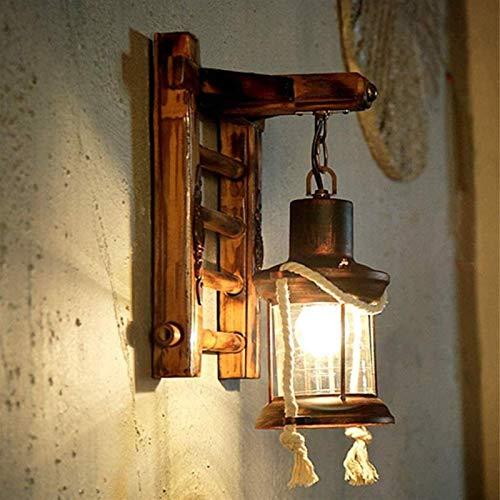 DINGYGJ E27 Holz Retro Wandleuchte Kreativ Harz Vintage Antik Nostalgie Hanfseil Rustikale Wandlampe Glas Lampenschirm Korridor Treppen Schlafzimmer Gang Cafe Bar Esszimmer Küche Wohnzimmer Kronleucht