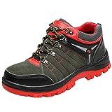 MisFox Scarpe Antinfortunistiche in Raffinato Pelle da Uomo, Scarpe da Lavoro Leggere Traspirante Sneakers da Lavoro Inverno Caldo Antiscivolo Scarponcini da Trekking con Punta in Acciaio