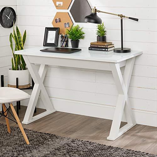 Walker Edison Furniture Modern Farmhouse X Computer Writing Office Desk, 48 Inch, White