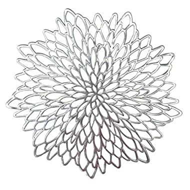 OCCASIONS 10 PACK Pressed Vinyl Metallic Placemats/Charger/Wedding Accent Centerpiece (10 pcs, Round Silver Leaf)