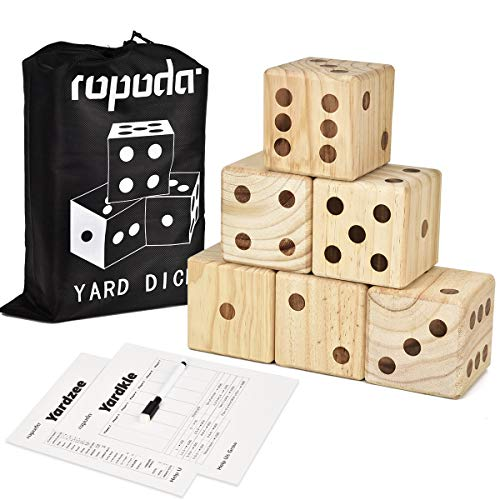 ROPODA Giant Wooden Yard Dice-Giant Outdoor Gaming Dice Set 3.5'-Includes 6 Dice, Scoreboard and Canvas Carrying Bag-Great Backyard and Lawn Game.
