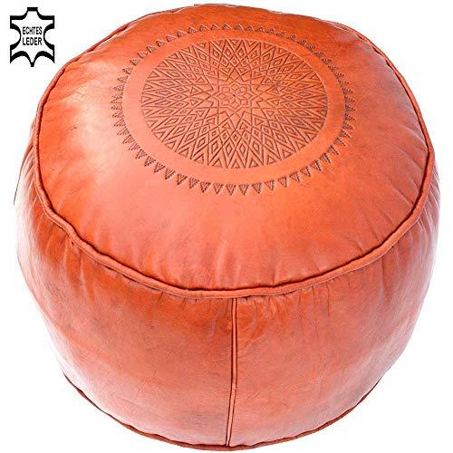 Lederen zitkussen zitpoef poef poef zitkubus kruk vloerkussen, kleur oranje, Ø 44 x H 33 cm, inclusief vulling, handgemaakt Marokkaans Oosters Aziatisch modern vintage