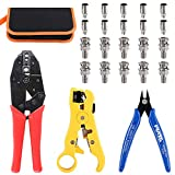 Glarks Coax Coaxial BNC Professional Crimping Tool with RG59 Coax Connector and Round/Flat UTP Cat5 Cat6 Wire Stripper and Wire Cable Cutter for RG55 RG58 RG59 RG62 5 6 21 140 141 142