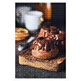 Wooden Jigsaw Puzzle Chocolate Mini bundt Cakes with Chocolate Glaze on Wooden Board 1000 Pieces for...