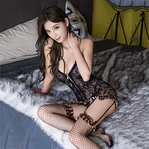 YUEG Corsés para Mujer Lencería Sexy súper Sexy Tirantes de Leopardo Ropa de Malla Perspectiva tentación Bolsa Falda Traje Apasionado