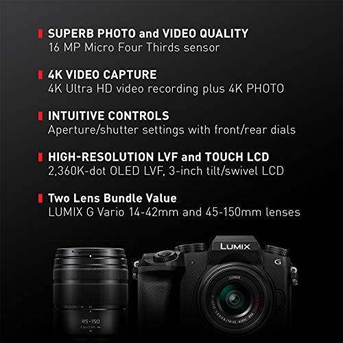 51aJFKFaU6L - PANASONIC Lumix G7 4K Digital Mirrorless Camera Bundle with Lumix G Vario 14-42mm and 45-150mm Lenses, 16MP, 3-Inch Touch LCD, DMC-G7WK (USA Black)