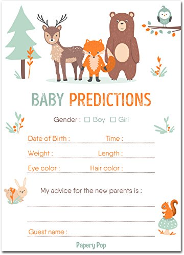 Papery Pop 30 Baby Shower Prediction and Advice Cards, Boy or Girl - Baby Shower Games Decorations Activities Supplies Invitations - Woodland Animals