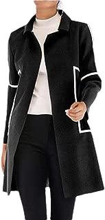 Womens Long Woolen Coat Stitching Contrast Color Open Stitch Slim Coat