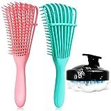 3 Pack Detangling Brush Set, Detangler Brush for Natural Black Hair Curly Hairk, Dry and Wet , Hair Scalp Massager Shampoo Brush, Hair Detangler for Afro America 3A to 4C Wavy/Coily/Oil/Thick/Long