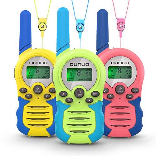 OUNUO Walkie Talkie Kinder Spielzeuge Funkgerät 3er Set, 8 Kanäle 3KM Reichweite, 10 Klingeltöne LCD Bildschirm eingebaute Taschenlampe, 3 Schlüsselbänder Wasserdicht, Geschenk für Jungen Mädchen