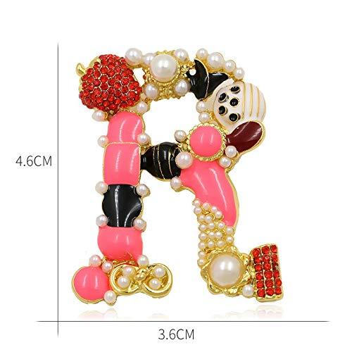 XTT® Broches Coloridas Letras de Letras y Broche de Perlas simuladas para Mujeres o niñas