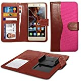 N4U Online® Pink Clip On Dual Fibre Book Wallet Case Cover